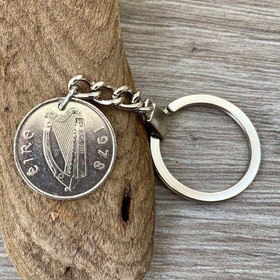 1978 or 1980 Irish coin keyring or clip, st patricks key chain, 40th or 42nd birthday gift or anniversary present for man or woman