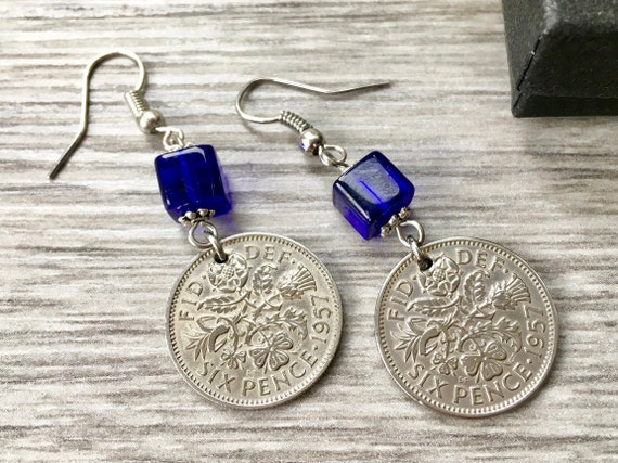 Lucky Sixpence earrings, 1955, 1956 or 1957 English coin jewellery, choose coin year for a 62nd, 63rd or 64th birthday or  anniversary gift