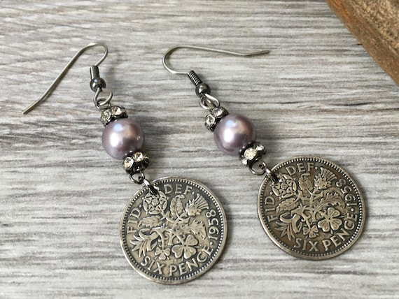 British sixpence earrings repurposed 1958 or 1959 English coin, 60th birthday, Anniversary gift, long dangle, antique style