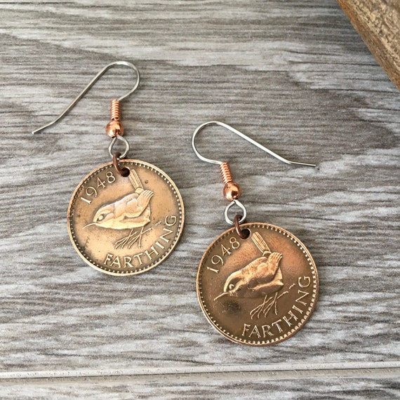 Farthing earrings, choose coin year 1940 - 1949, British wren jewellery, birthday gift for a woman, mum, mother, grandma, nana