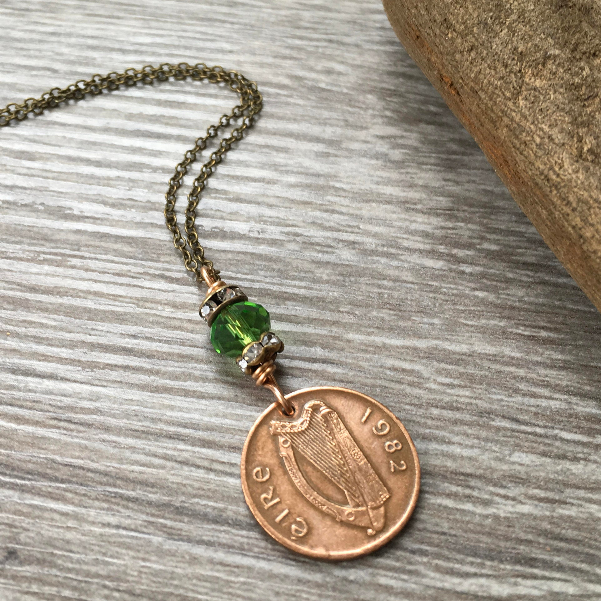 37th birthday gift, Irish coin necklace, 1982 celtic coin jewelry lucky