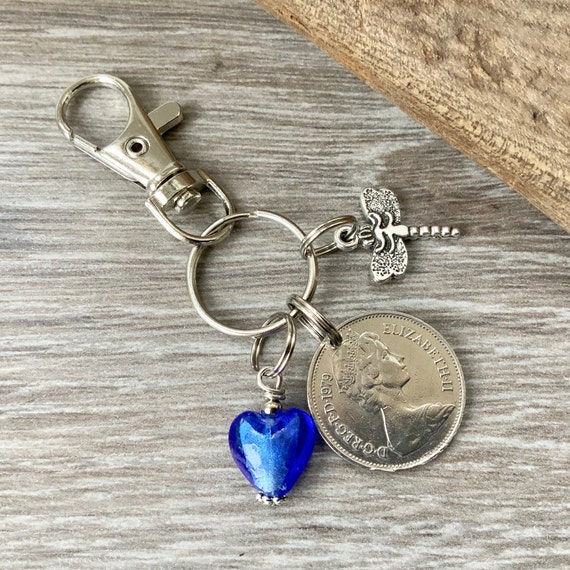 1979 British coin keychain, bag clip charm, keyring, 40th birthday present, anniversary gift for Her, woman, wife