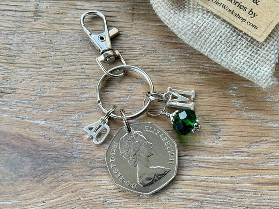 40th birthday gift, Birthstone charm, 1981 British 50p keyring or bag clip, choice of initial and birthstone colour, 40th anniversary gift