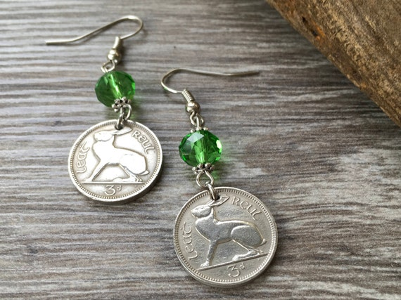 1964 or 1965 Irish hare Coin earring, choose coin year for a 53rd or 54th birthday gift, anniversary present for a woman,