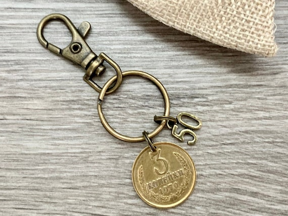 50th birthday gift, Unusual Soviet Union coin keyring, 1970 coin keychain Russia, Russian key fob, present for him, her, man or woman,