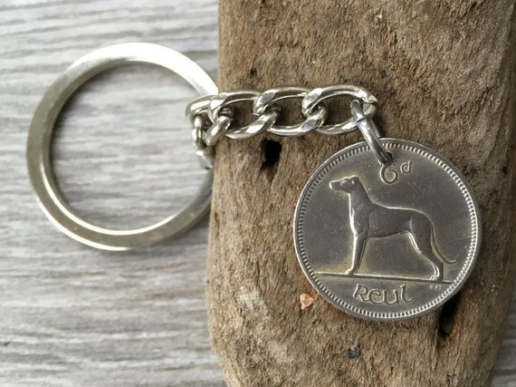 57th or 58th birthday gift, 1961 or 1962 Ireland coin keyring, Irish wolfhound, Anniversary present for him man, her, woman, dad, uncle, mum