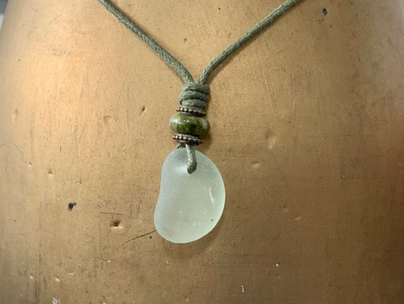 sea glass pendant, beach glass niecklace, unakite gemstone vegan jewellery, natural, recycled, adjustable waxed cotton cord