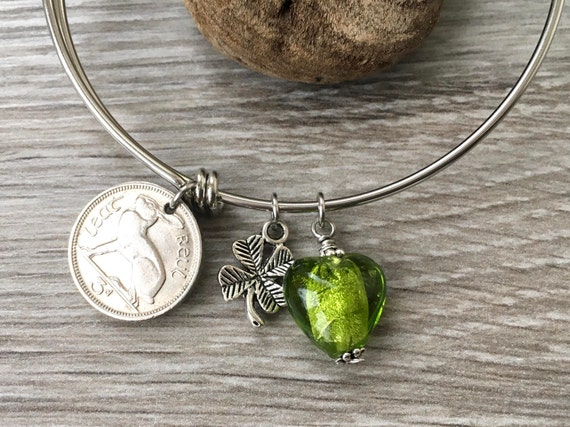 Irish bracelet, choose coin year, birthday or anniversary gift, hare coin charm bracelet, jewellery Present for a woman
