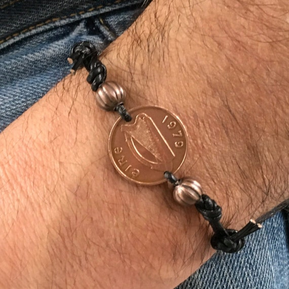 Irish penny bracelet, handmade with the coin in the year of your choice and with leather or black waxed cotton cord