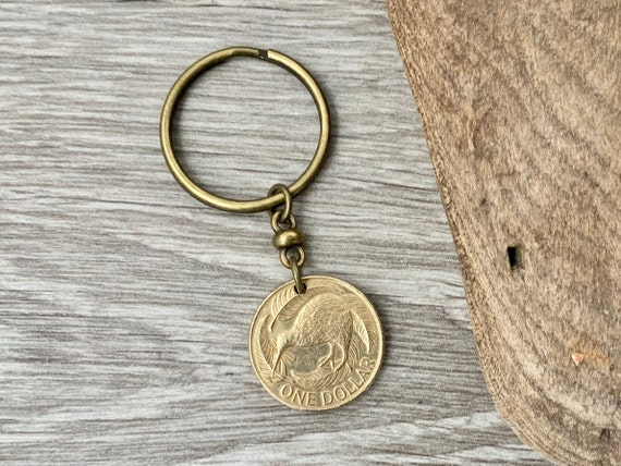 1991 New Zealand dollar coin keyring, a perfect 30th birthday gift or 30th Anniversary present Kiwi coin