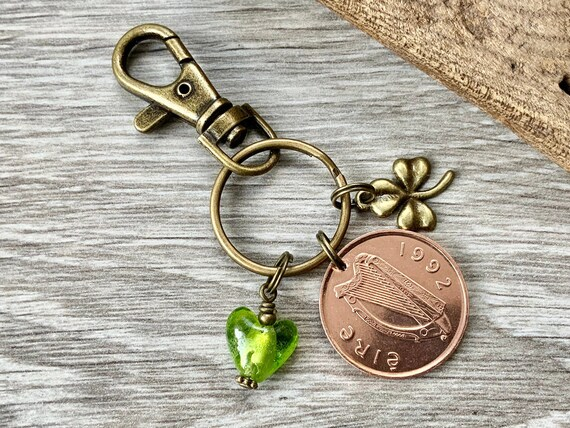 1990 or 1992 Irish coin and shamrock keyring, key chain or clip Ireland purse handbag charm, 28th or 30th birthday or anniversary gift