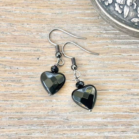 Black onyx heart earrings with stainless steel ear wires