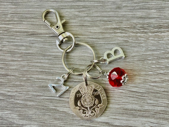 21st birthday or anniversary birthstone charm clip, 1999 UK 20p coin keyring or bag clip, choose initial and birthstone colour