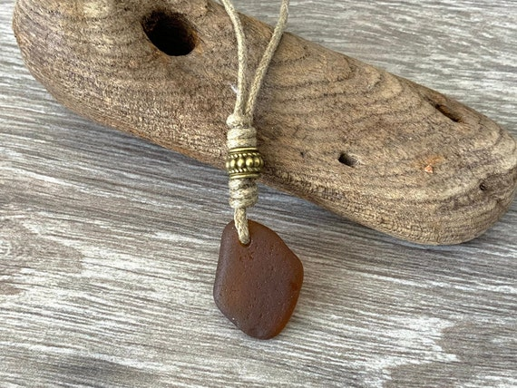 Brown sea glass necklace, natural coloured cotton cord, brown beach glass jewellery, unisex for a man or women