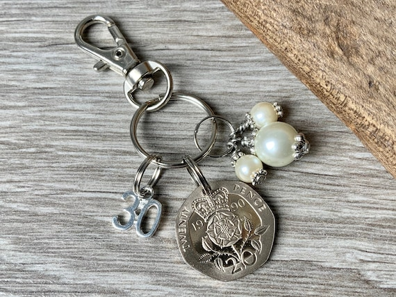 30th anniversary or birthday gift, pearl anniversary, 1990 British coin keyring, keychain, or clip