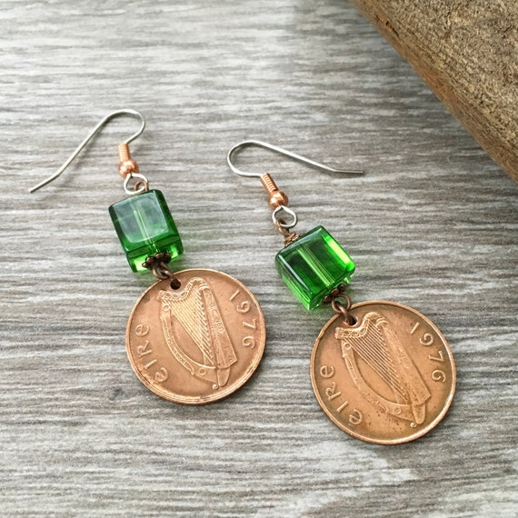 Irish coin earrings, 1971, 1975, 1976, 1978, 1979 penny earrings, 40th, 41st, 43rd, 48th birthday gift for her, Eire anniversary