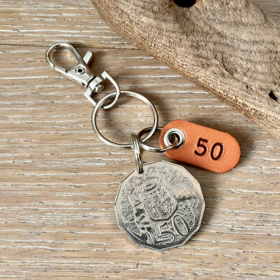 50th birthday or anniversary  gift, 1971 Australian 50 cent coin keyring, keychain or clip, with a handmade number 50 leather tag