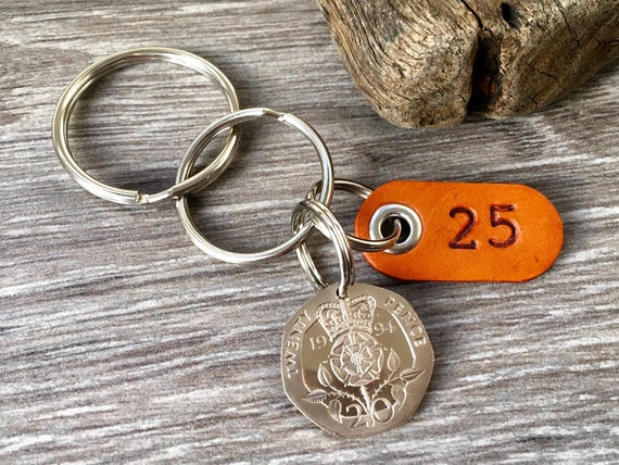 25th birthday gift, 1994 UK coin keyring, keychain, clip or bag charm, with a leather number 25 tag