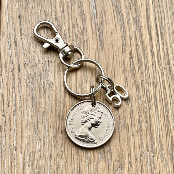1971 British 5 pence coin  (5p) keychain, birth year key ring, English 50th birthday or anniversary gift for man or  woman