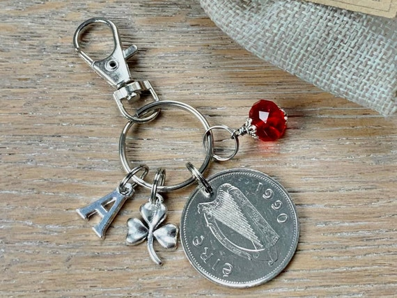 1990 Irish punt Birthstone charm, Ireland coin bag clip, choice of initial and birthstone colour
