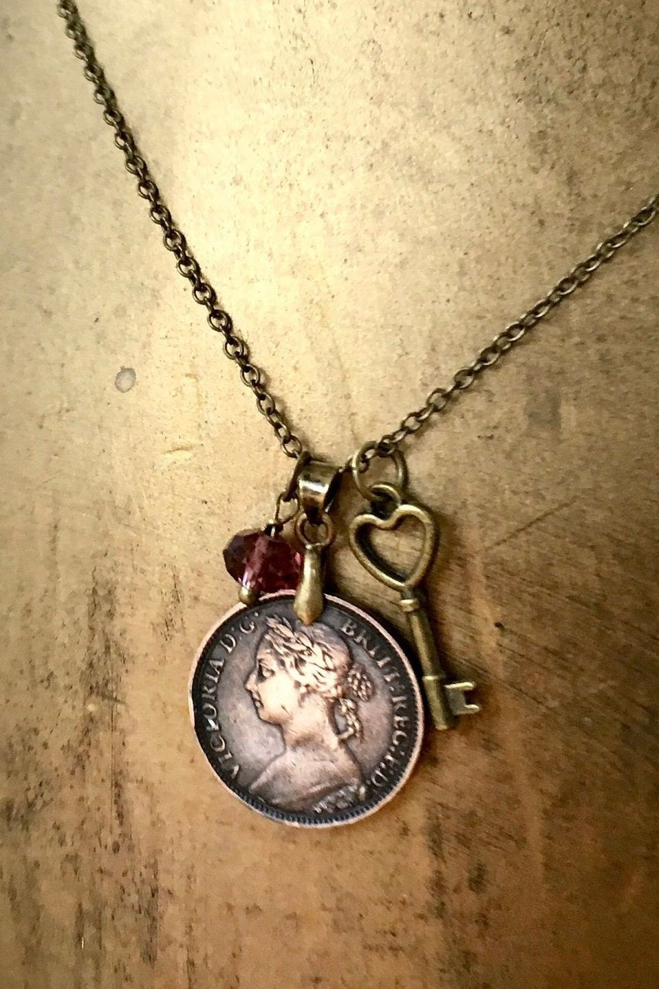 Old English Charm: Victorian Coin Necklace, 1893 British Coin Pendant