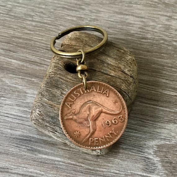 Australian penny keychain, kangaroo coin keyring or clip 1961, 1962, 1963 or 1964 choose Australia coin year