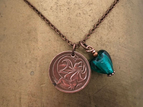 Australian coin necklace Australia two cent long lizard pendant, choose coin year, 1970-1980 Aussie anniversary present for her, woman