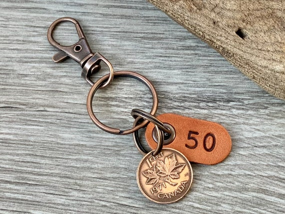 50th birthday gift, 1971 Canadian penny clip, canada lucky coin keyring, anniversary present for a man or woman