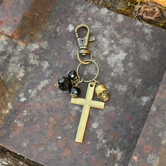 Large cross, skull and black beaded Keyring or clip,