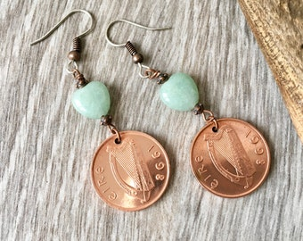 Irish coin dangle earrings, 2000 or 1998 Ireland penny jewellery, 18th or 20th birthday, Eire anniversary gift for her, woman wife