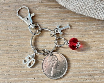 50th Birthstone gift, 1971 British 5p coin keyring or bag clip, choice of initial and charm colour, 50th birthday or anniversary gift woman
