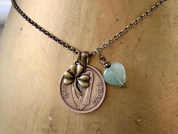 1946 Irish half penny coin and shamrock pendant necklace