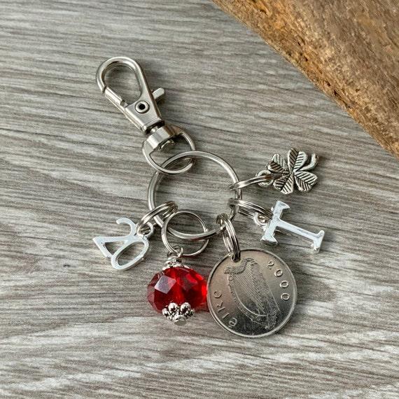Irish Birthstone charm, 2000 irish coin keyring or bag clip, choose initial and birthstone colour, 20th birthday or anniversary gift woman