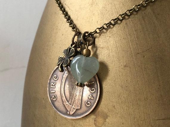 70th  birthday gift, Irish 1949 coin necklace, green aventurine pendant, shamrock, Ireland, Eire, Celtic present for her, woman, mum, aunt