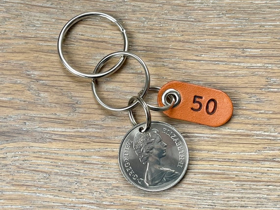 50th birthday gift, 1971 British ten pence coin keyring or clip, a perfect 50th anniversary gift