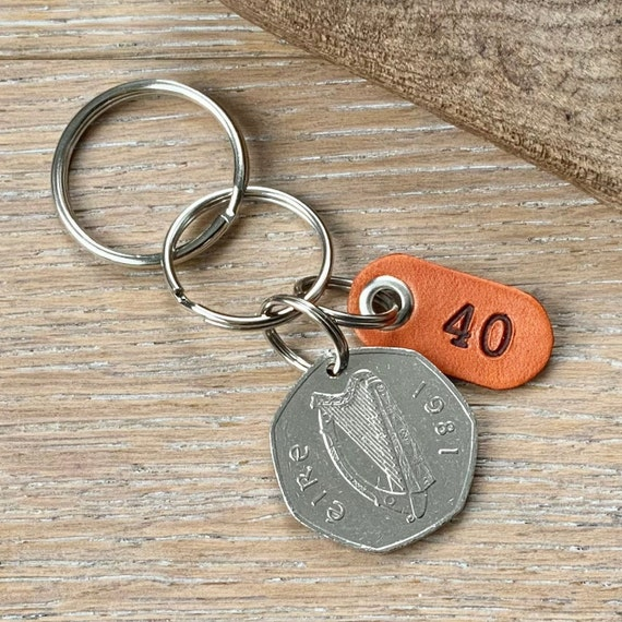 Irish 40th birthday or anniversary gift, 1981 fifty pence coin from Ireland choose between a keychain, keyring or clip