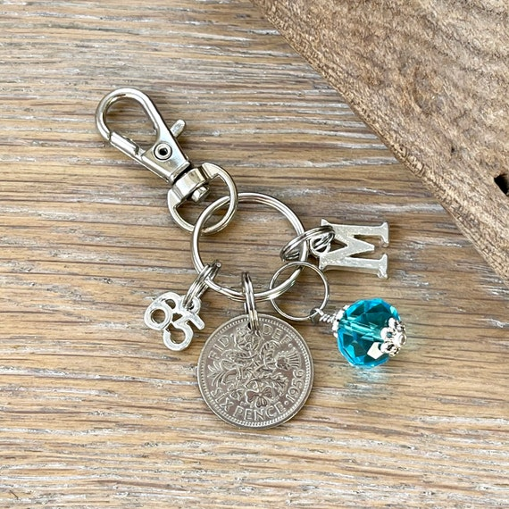 65th birthday gift, birthstone charm, 1956 sixpence bag clip, choose initial and birthstone colour