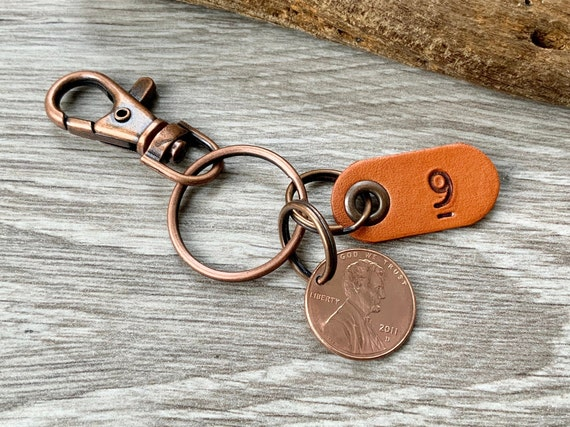 9th anniversary gift, 2011 USA penny keyring, one cent keychain, copper anniversary, Married in 2011