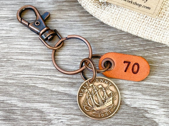 70th birthday gift 1951 British coin keychain, English halfpenny sailing ship keyring, small present