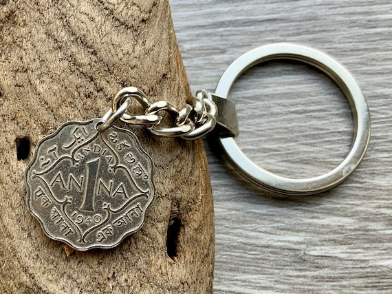 1940  Indian coin keychain, one Anna coin keyring, 80th birthday gift idea for a man or woman
