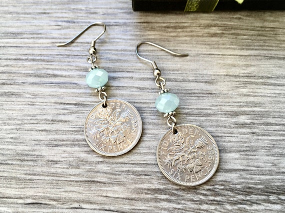 Lucky sixpence dangle earrings, choose coin year, pretty English coin Jewellery, retirement present woman, Pale blue earrings