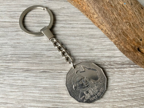 Australian coin keyring, 50th birthday gift, Aussie keychain, 1970 coin keyfob, Australia retirement, anniversary present for him or her
