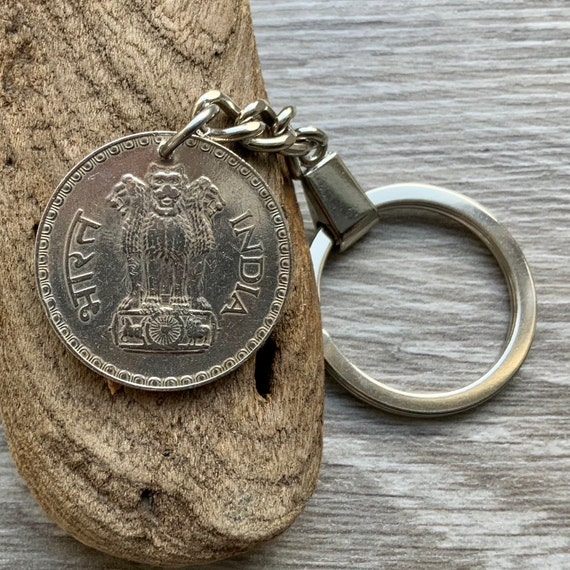 1981 one rupee coin keychain, Ashok-Stambh, Ashoka's Pillar, 40th birthday gift or anniversary present, travel, traveller, Asia gap year