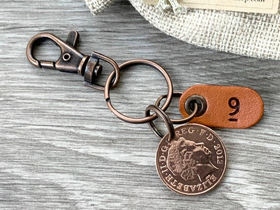 9th anniversary gift, 2012 two pence coin keyring, keychain, wedding, copper 9th anniversary, present for a man or woman, husband or wife