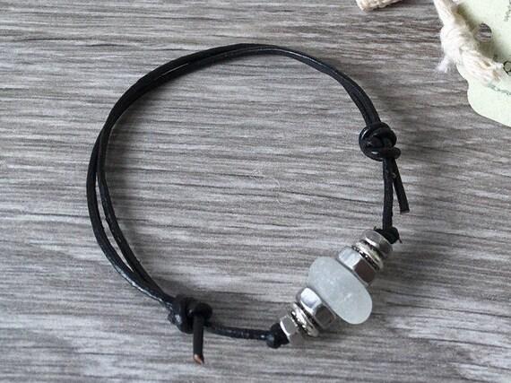 Natural sea glass and hex nut bracelet, surfers gift, beach comber bracelet, boho beach jewelry, hex nut jewelry, guy, men, women, man