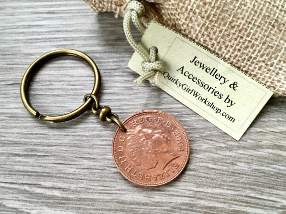 British two pence coin keyring, keychain or clip, 2004 2004 2005 2006 or 2007 choose coin year for a perfect birthday or anniversary gift