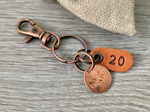20th birthday or anniversary gift, 2000 USA coin keychain, American one cent keyring, lucky penny clip, present for a man or woman
