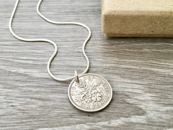 1963 or 1964 sixpence necklace English coin pendant, sterling silver, British jewellery, choose coin year for a birthday present for a woman