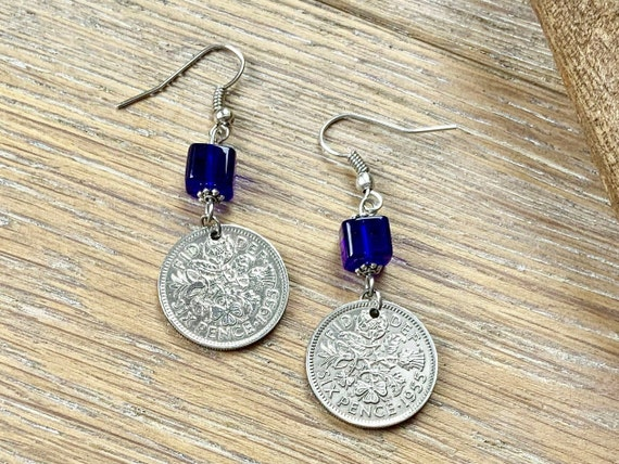 British Sixpence and cobalt blue beaded earrings, 1953 - 1967 choose coin year for a perfect birthday or anniversary gift