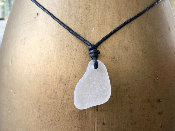 Simple sea glass necklace, adjustable waxed cotton cord, genuine beach glass pendant, boho no metal jewellery, men women, hippie man